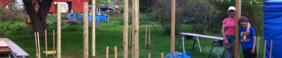 Batter boards used to align posts.
